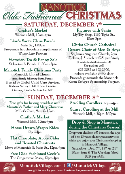 Manotick Olde Fashioned Christmas Activities
