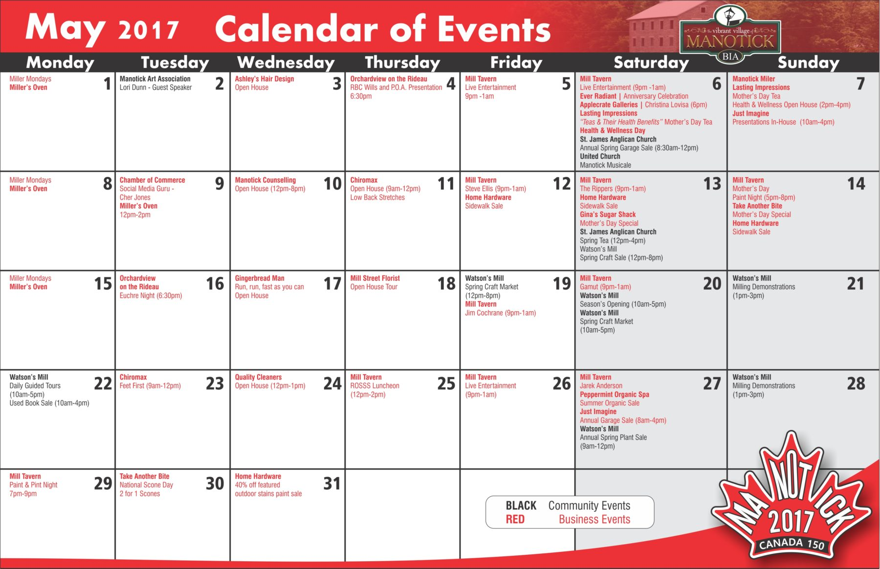 Calendar May Events : Manotick business improvement area ontario